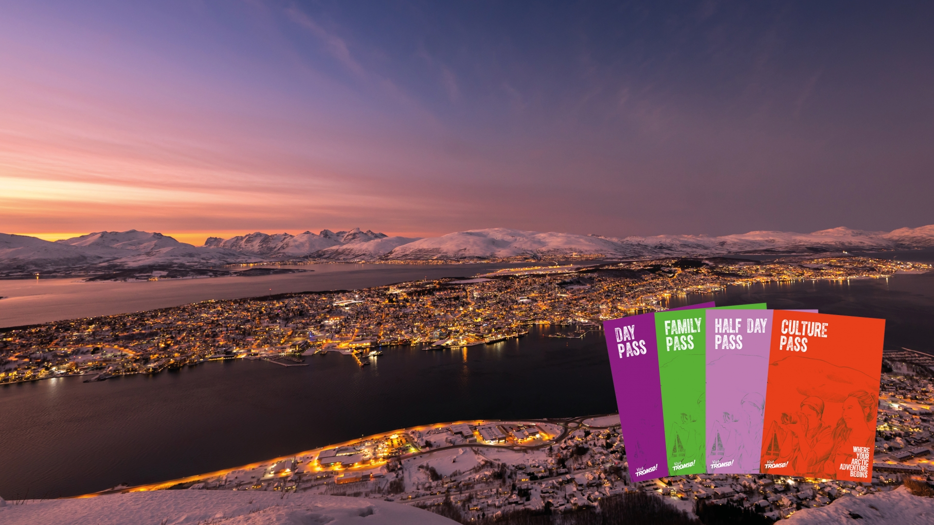 Images of the Tromsø pass with Tromsø island in the background