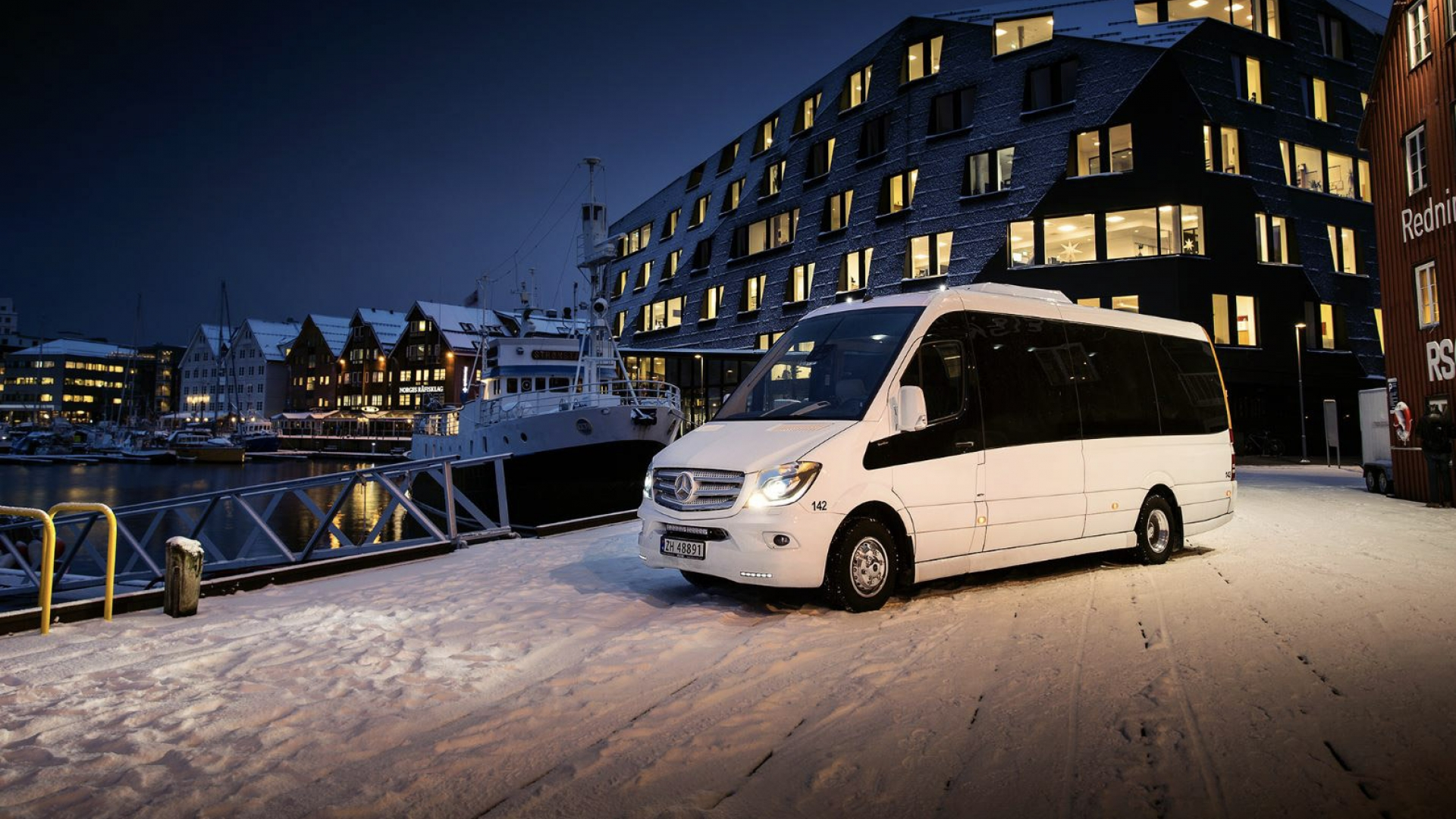 Mini-bus on the harbour of Tromsø