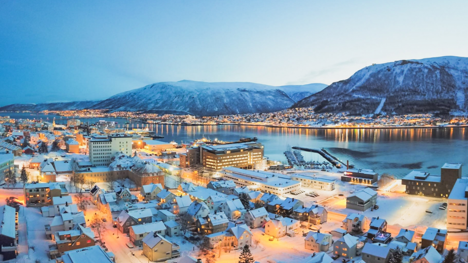 Tromsø city in blue light
