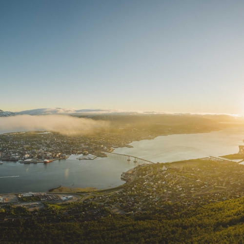 Panoramic view over Tromsø during sunset