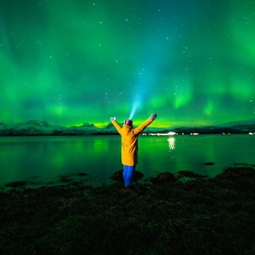 Woman in winter clothing watching the Northern Lights