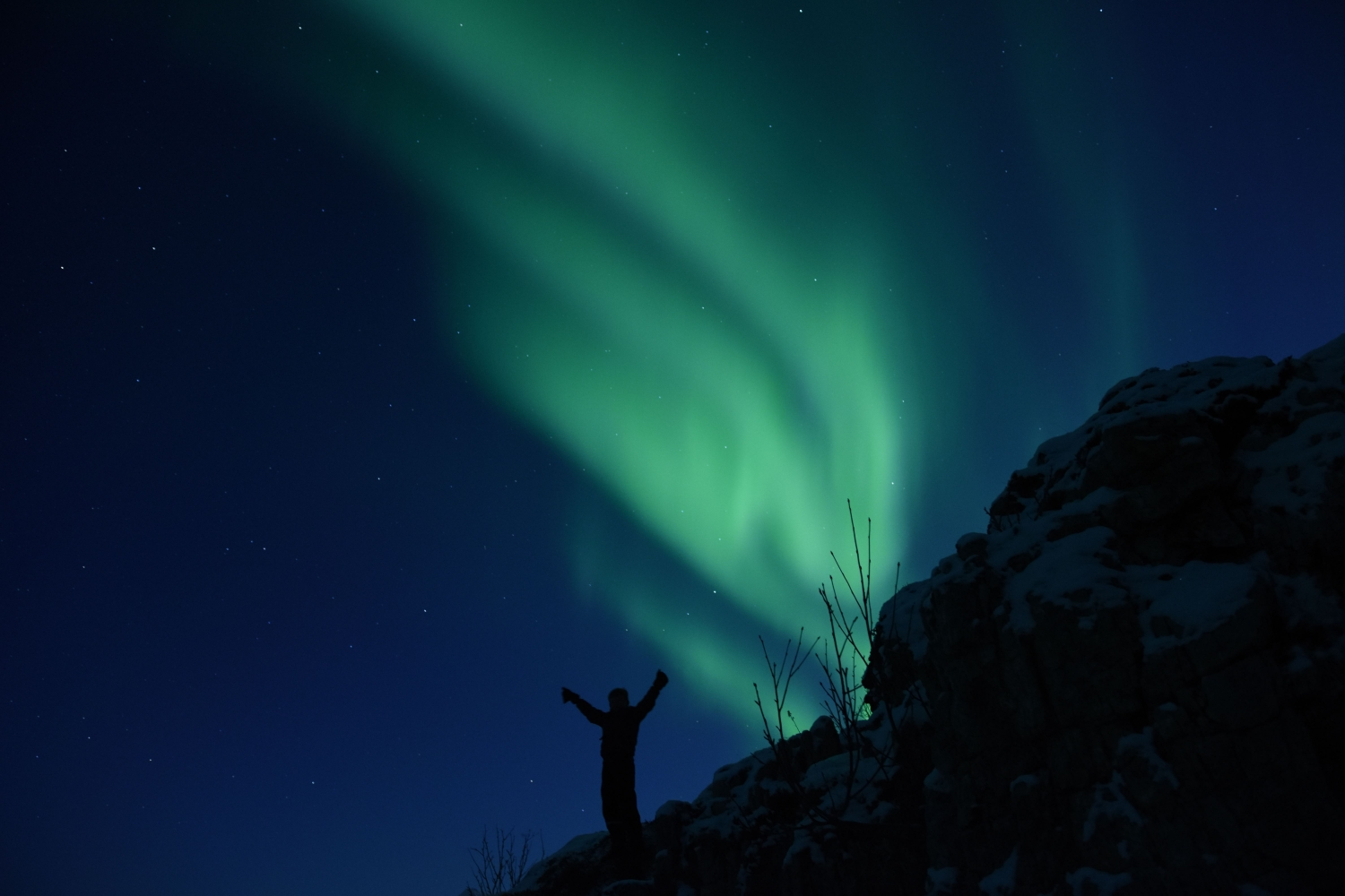 person tributing the Northern Lights