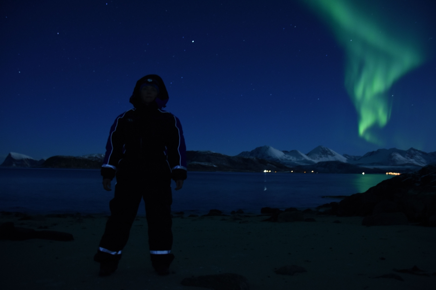 Person gazing at the Northern lights