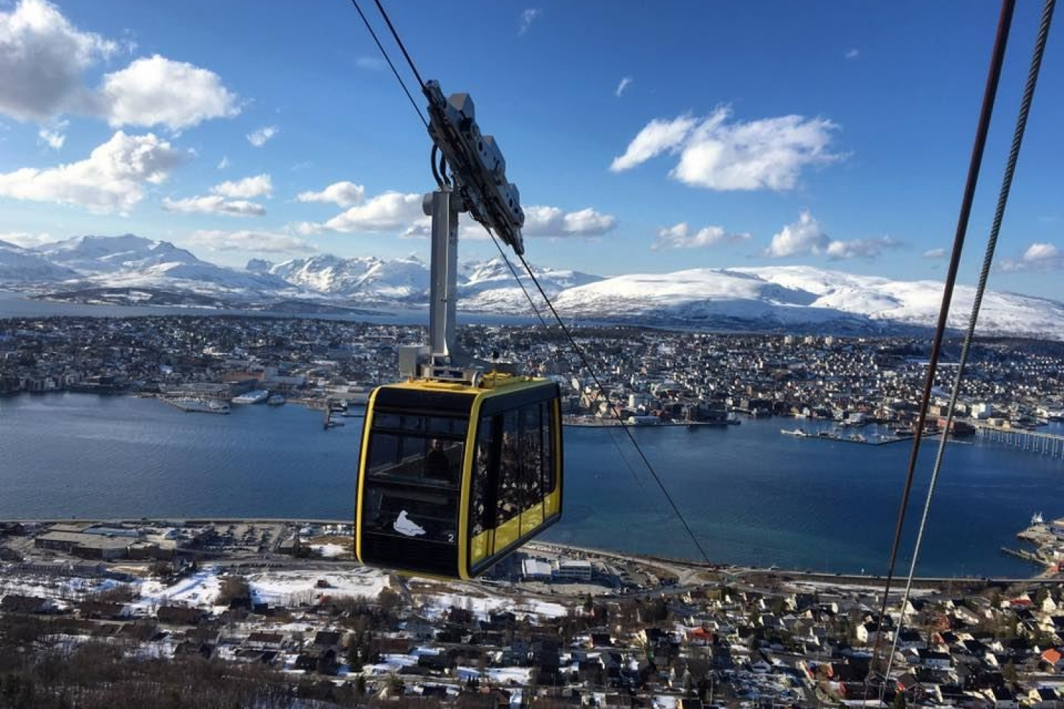 A cable car on the way up to the top