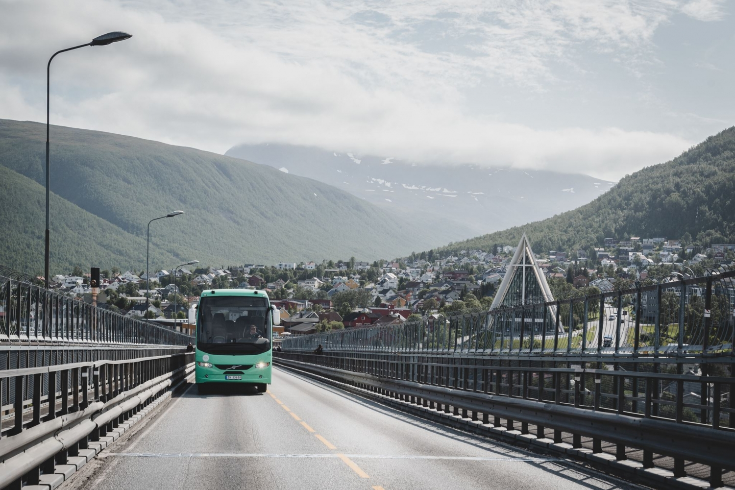 Bus driving over the Tromsø bridge
