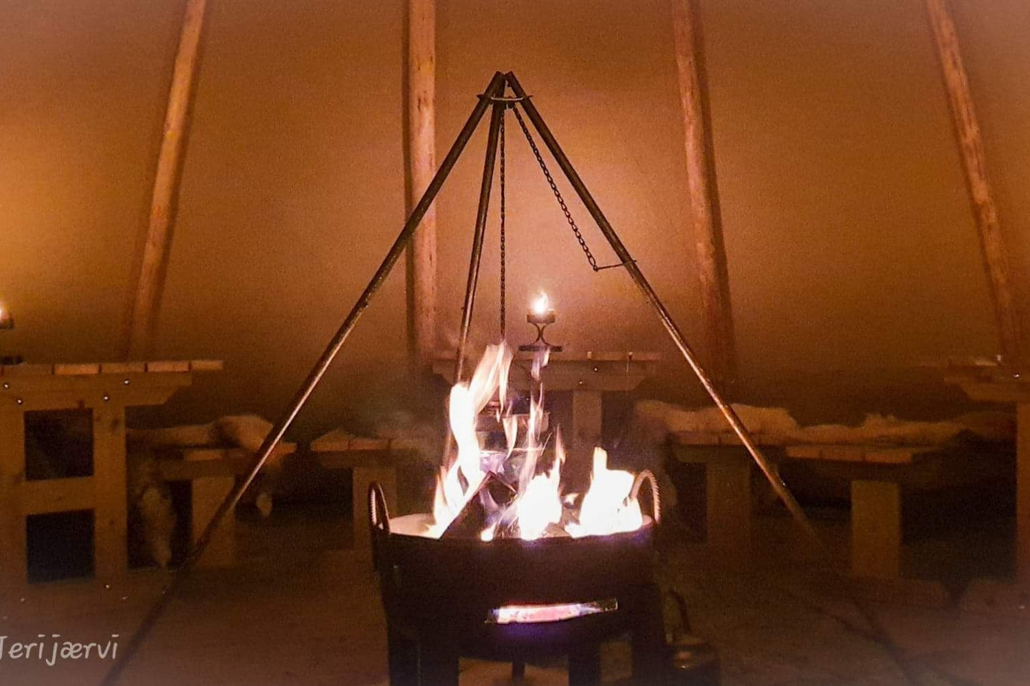 a bonfire inside the lavvo