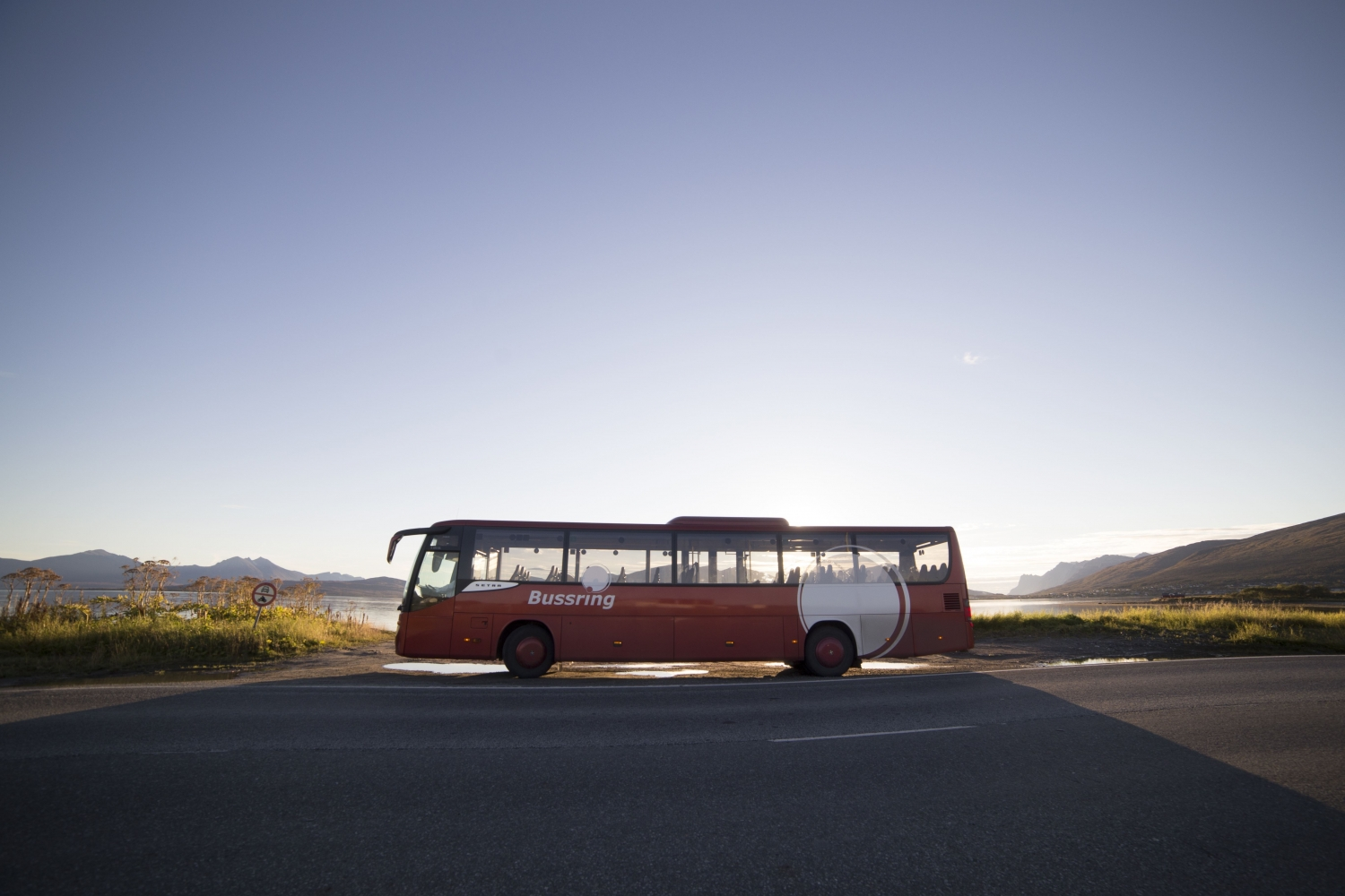 One of Bussrings buses in sunset