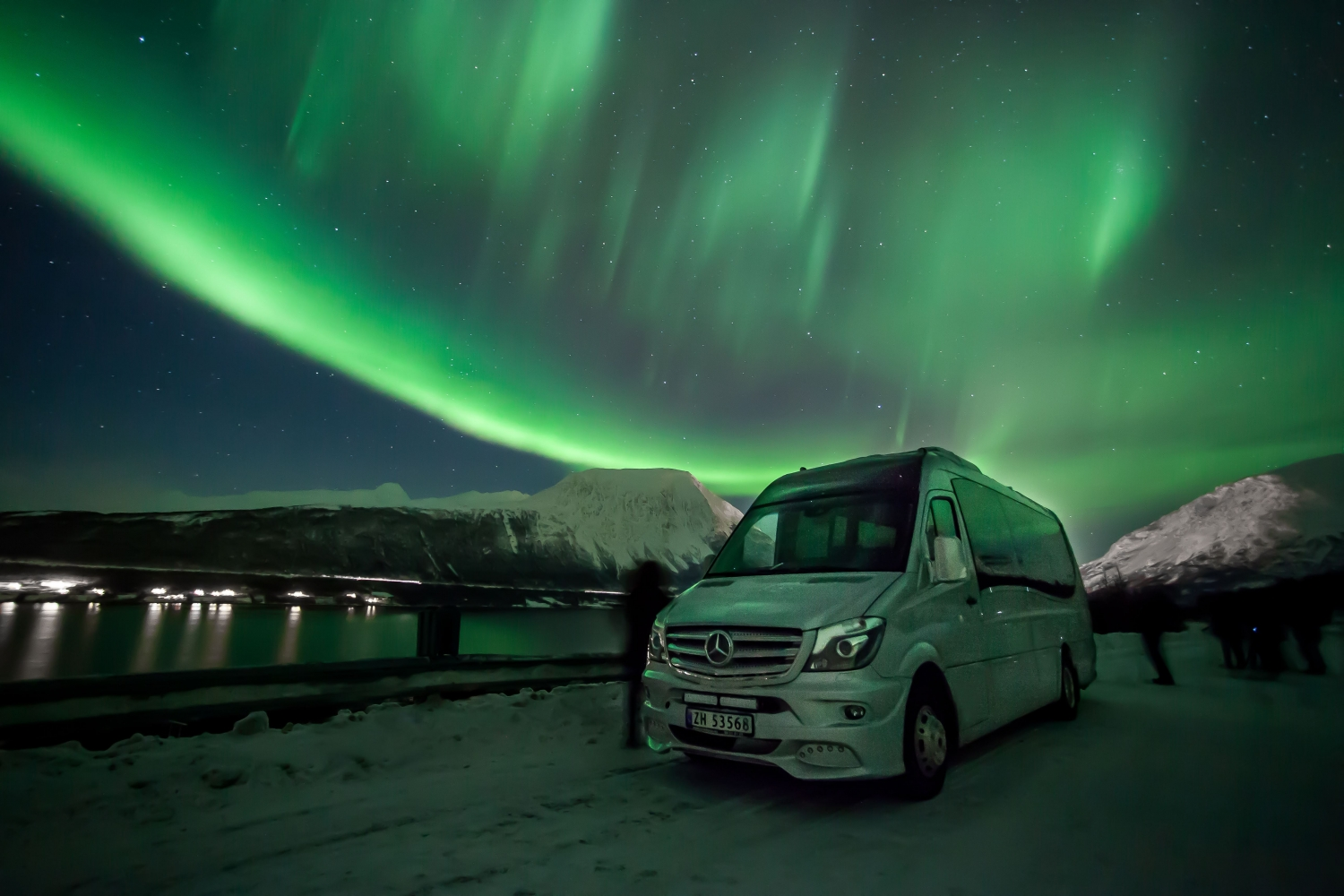 northern light and a minibus