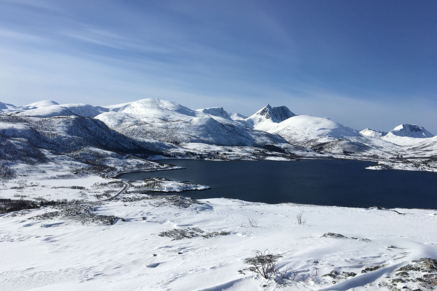View over a snow covered Fjordbotn