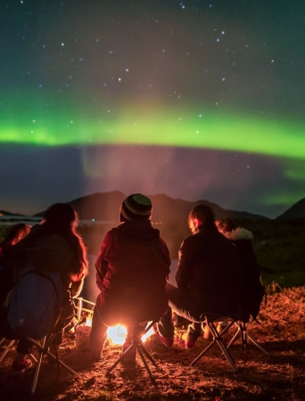People gathered around a bonfire looking at the Northern Lights