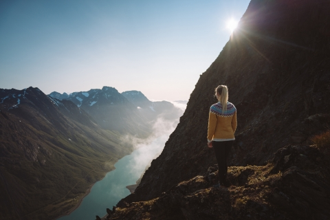 Woman enjoying the view over mountains in Lyngen