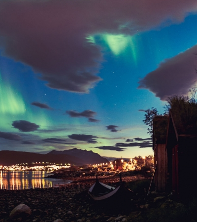Northern Lights by the ocean
