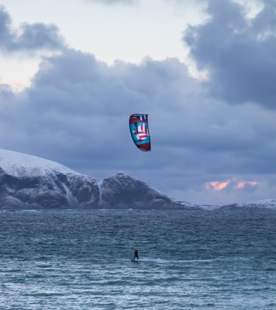 Kiting outside of Kvaløya