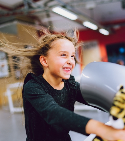 Girl playing at the Science Centre of Northern Norway